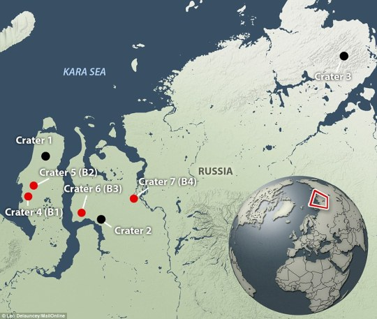 Siberian Crater Locations