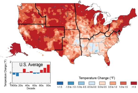 """The colors on the map show temperature changes over the past 22 years (1991-2012) compared to the 1901-1960 average for the contiguous U.S., and to the 1951-1980 average for Alaska and Hawai'i. The bars on the graph show the average temperature changes by decade for 1901-2012 (relative to the 1901-1960 average). The far right bar (2000s decade) includes 2011 and 2012. The period from 2001 to 2012 was warmer than any previous decade in every region."" (U.S. Global Change Research Program)"