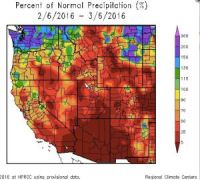 Very dry across the West in February 2016.